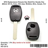 #6: Sfk Replacement Remote Key Shell for Honda City (Below 2014) / Civic/Old Jazz/Mobileo / Brio/Amaze / CRV (for 2 Button Key)