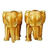 Feng Shui Ein Paar Harzfigur Elefant Ganesh Symbol der Kraft Kraft Kraft Home Office Decor, Kunstharz, Gold, Large