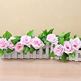 #1: Generic 240cm Fake Silk Roses Ivy Vine Artificial Flowers with Green Leaves For Hanging Garland Decor-Light Pink
