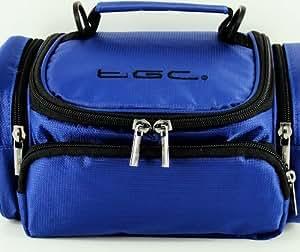 Full Dreamy Blue ® TGC Deluxe Sac de transport à porter à l'épaule pour le Panasonic HX-WA3 & caméra et accessoires câbles chargeur batterie carte mémoire flash Etc.