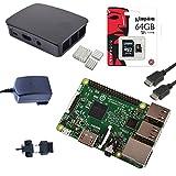 Raspberry Pi 3 Originale Ufficiale Starter Kit Nero Black con Alimentatore Caricatore Originale, Case Originale, Cavo HDMI, Dissipatori e MicroSD 64 GB