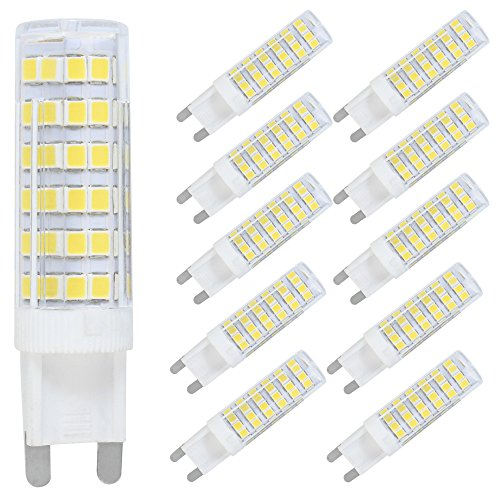 Confezione da 10 G9 LED Luce Lampada 7W LED Bulb 76 SMD 2835LEDs Lampadina Bianco Freddo 6000K Sostituzione 70W Alogena AC220V-240V