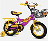 HFYAK Bicicletta per Bambini da 30,5 cm, con Sedile Posteriore a Doppio Freno, Telaio in Acciaio, Manico Regolabile, Idea Regalo per Bambini da 2 a 4 Anni, Bambino, Viola/Giallo.