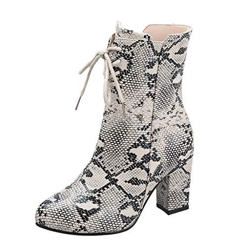 LIHAEI GeschnüRt Stiefeletten Damen Leder Sexy Schlange Stiefel Winter Boots Mit Blockabsatz ReißVerschluss Reiten Western Booties (Echte Schlange Stiefel)