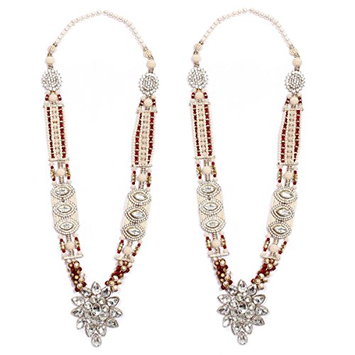 Anks Handicrafted Multi-Color Pearls & Stones Metal Varmala Jaimala for Unisex (Set of 2) VM-009