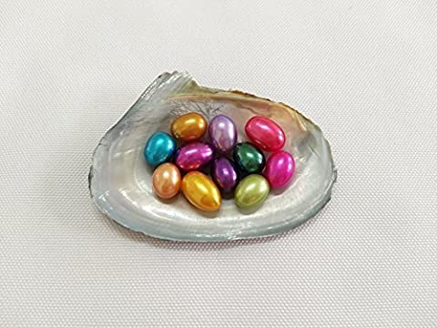 5pcs 7-8mm AAA Rice Oval Dyed Freshwater Pearl Oyster