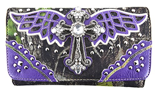Blancho Biancheria da letto delle donne [Ala Croce] PU Leather Bag Set Elegante Portafoglio Hanbag Comobo Fashion Bag viola Wallet-Viola