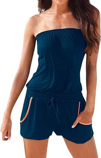 LOVELYOU Tuta Donna Eleganti da Cerimonia Estivo Jumpsuit Moda Sexyshine Senza Spalline Stampato Beachwear Short Bandeau Rompers