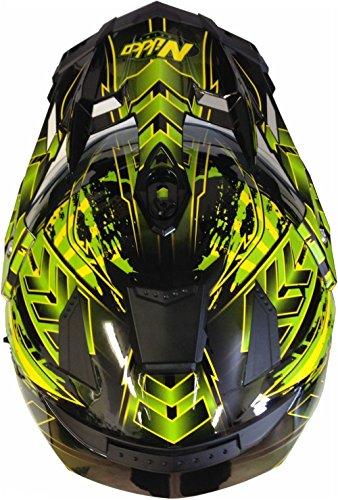 Motorradhelm MX Enduro Quad Helm Schwarz Grün mit Visier und Sonnenblende Gr. M - 4