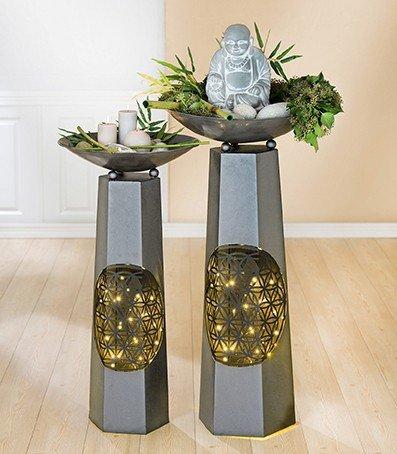 1 x Schalenständer m. Schale Lebensblume Metall antik Höhe 115 cm, Pflanzschale, Deko, Indoor