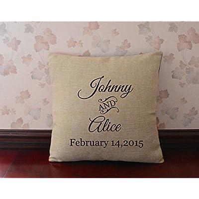 De regalo con mensaje personalizado customstyle para el nombre y la fecha de la boda Burlap manta de cojines decorativo marco de for Her 18 x 18