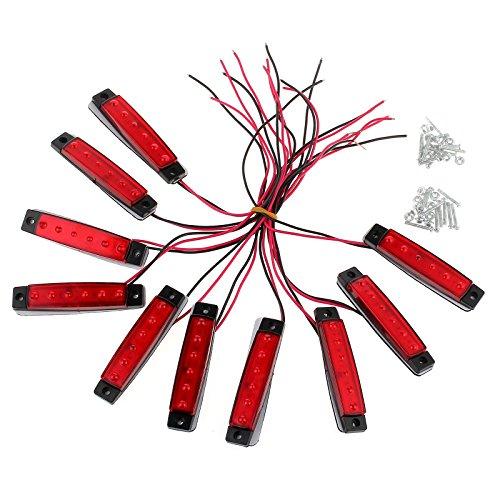 Justech 10PCS Luci Laterali 12V LED Laterali/Anteriore/Posteriore Indicatori Luci di Posizione a LED Universale per Veicolo Rimorchio Caravan Camion Trattore Autocarro-Rosso