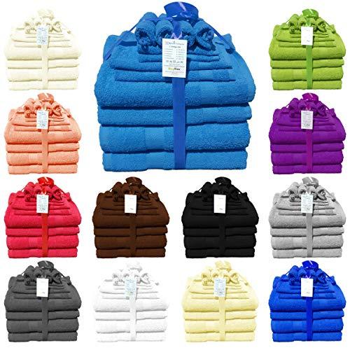 12-teilig Handtuch-Set aus 100% Baumwolle 2 Duschtücher 2 Handtücher 2 Gästetücher 4 Waschhandschuhe 2 Seittücher 480 g/qm Türkis