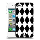 Head Case Designs Diamanten Schwarz-Weiss Muster Ruckseite Hülle für Apple iPhone 4 / 4S