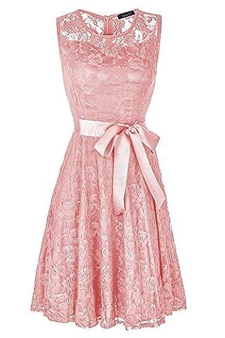 Robe Cocktail Rose - NALATI Femme Robe Col Rond Robe Sans
