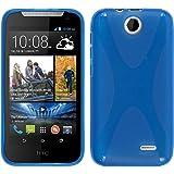 PhoneNatic Case für HTC Desire 310 Hülle Silikon blau X-Style + 2 Schutzfolien