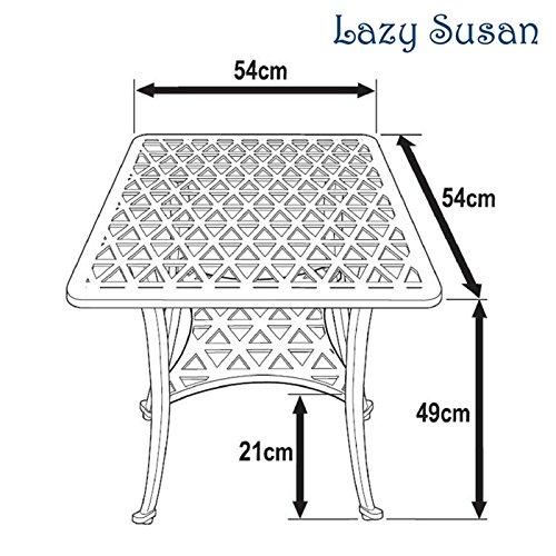 Lazy Susan – SANDRA Quadratischer Kaffeetisch mit 1 APRIL Gartenbank und 2 APRIL Stühlen – Gartenmöbel Set aus Metall, Antik Bronze (Beige Kissen) - 6