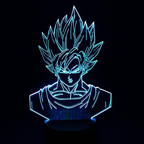 Dragon Ball Z Super Saiyan God Goku Actionfiguren Tischlampe 3D 7 Farbwechsel Nachtlicht für Kinder Geschenke für Kinder (Ball Z-party Dragon Dekorationen)