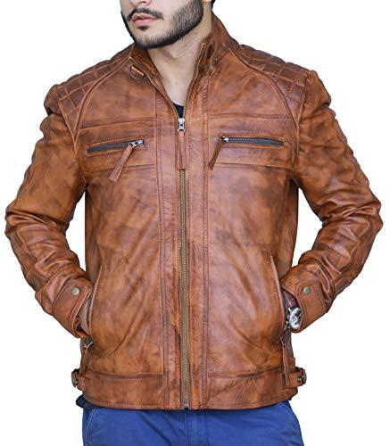 Hollywood Jacket Herren Diamond Real Lederjacke L geeignet für 43-44 Zoll Brust Braun