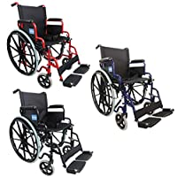 "The Aidapt Self Propelled Steel Wheelchair has a powder coated frame and is available in a range of colours. Features include flip up PVC padded armrests, adjustable detachable swing away footrests, deluxe padded black nylon upholstery,18"" seat width, 8"""