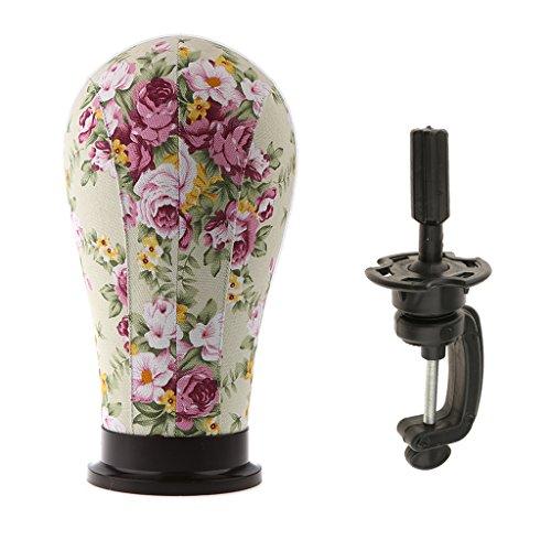 MagiDeal Tête Mannequin en Toile pour Affichage Perruque Chapeaux Lunettes + Support Stand en Plastique - B
