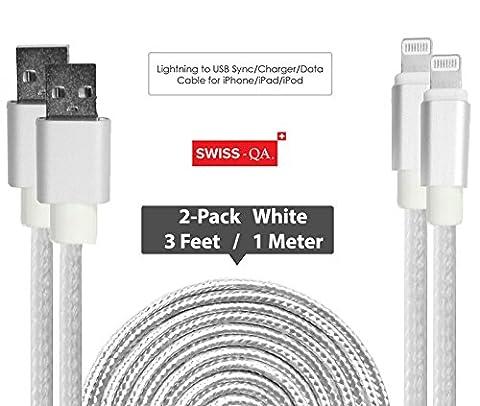Lightning Kabel - 2 x 1m, Weiß, geflochten - Sehr schnelles iPhone 7 Ladekabel - verstärktes USB Datenkabel mit Knickschutz - Für Apple iPhone 7 6 5, iPad, iPod - SWISS-QA Geldrückgabe (Light Set Weiß Draht)