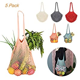 5 borse a rete in cotone con manico lungo, riutilizzabili per la spesa, per la spesa, prodotti da spiaggia, giocattoli…
