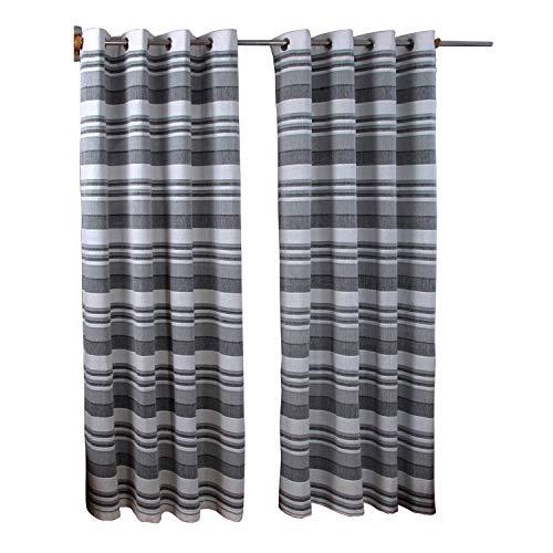 Homescapes handgewobener Vorhang Morocco grau weiß 2er Set Ösenvorhang 140 x 140 cm (Breite x Länge) Dekoschal gestreift 100% reine Baumwolle