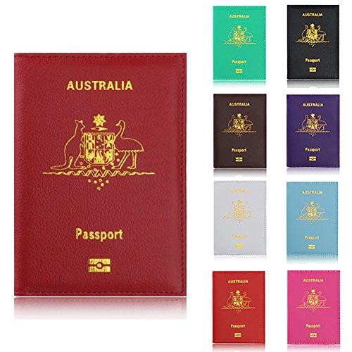 AxssjS Mode einfarbig Australien Kunstleder Pass Inhaber Fall Tickets Card Organizer Weiß
