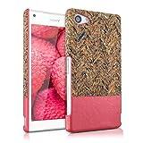 kwmobile Hardcase Hülle für Sony Xperia Z5 Compact - Backcover Case Schutzhülle Cover in Recycle Wellen Fläche Design Mehrfarbig Pink Hellbraun