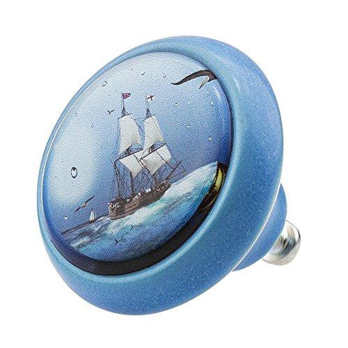 Möbelknopf Möbelknauf Möbelgriff Pirat Piratenschiff Segelschiff 03420B in über 2 0 verschiedenen Farben Mustern und Designs für Kinder Kinderzimmer Kindermöbel
