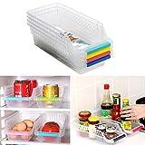 CrazySell Refrigerator Durable Storage Organizer Fruit Handled Kitchen Collecting Box Basket Rack Stand Basket Container (4Pcs)