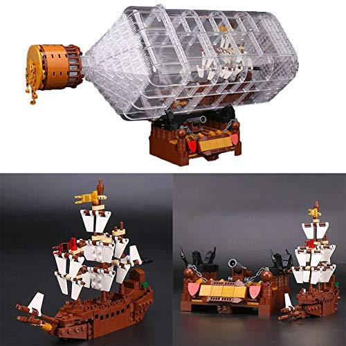 Fancylande Schiff in der Flasche 3D Bausteine   775 Stück - Modell Schiffe Kits zu Bauen - Sammler Display Set und Spielzeug Geschenk für Erwachsene Kinder