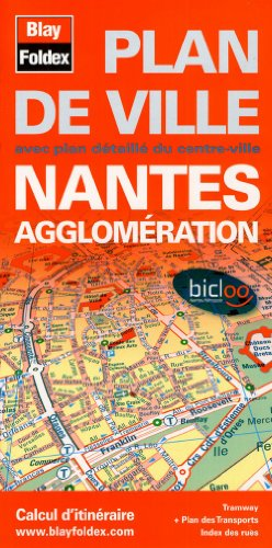 Plan de Nantes et de son agglomération - Avec localisation des stations Bicloo