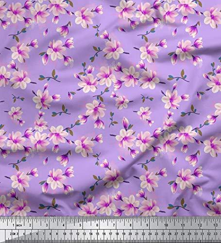 Soimoi 180 GSM Nähen 60 Zoll breit Blumendruck 2-Wege-Stretch Velvet Meterware-Lavendel Stretch Velvet