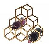 WENMW Leichte Metall Wein Rackcan Place 6 Flaschen Rotwein Home Decor Produkt, Gold