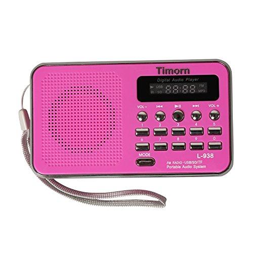 Timorn Radio Mini tragbare Musik-Player unterstützt TF Card / USB / SD / MP3-Format / FM-Radio-Funktion (L938)(Rosa)