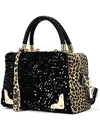 Homebaby® Borsa Pelle Donna Leopardo - Borsa Tracolla Borsa Grande Donna  Elegante Borsetta Tracolla Nera ea1b1c4557b