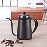 KITCHY 1PC 650ml Vintage Coffee Pot Swan Neck Mouth Stainless Steel Coffee Kettle Drip Coffee Maker Pot Plating Colorful Coffeeware: Black