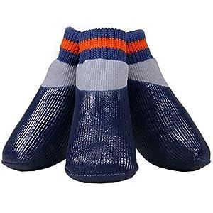 LA VIE 4 pcs Chaussettes à Revêtement en Caoutchouc Etanche Anti-dérapant Chaussures Chaussette Convient aux tous les temps pour Chien Chiot 4 Tailles disponibles