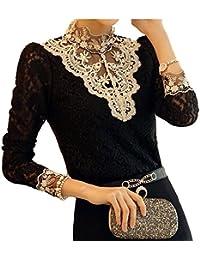 Dayiss®Chic OL Damenbluse Spitzenbluse Lace Hemdbluse Langarmshirts Perlen Stehkragen Tops in 2 Farben