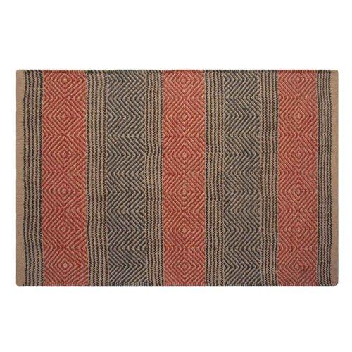 Homescapes Naturfaser Teppich Vorleger 120 x 180 cm 100% Jute Teppich blau beige geometrisches Muster Raute gestreift (Sisal-teppich, Fliesen)
