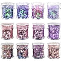 Purpurinas Polvo, Chunky Glitter Flakes paillette cosmético Fiestas y festivales brillantes Decoración para rostro, ojos, uñas, cabello y cuerpo (12 piezas)