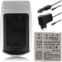 2x Baterías EN-EL5 + Cargador para Nikon Coolpix 3700 4200 5200 P3 P4 P80 P100 P500..ver lista!
