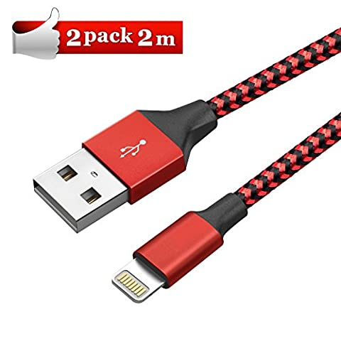 Elegear Câble Lightning Apple Lightning Chargeur Câble Réfléchissante iPhone Câble Lightning Vers USB Chargeur Renforcé Recharge Pour iPhone 5, 5S, 5C, SE, 6, 6 Plus, 6S, 6S Plus, 7, 7 Plus, iPad Pro/Air/mini etc et Fil iPhone Fibre de Nylon
