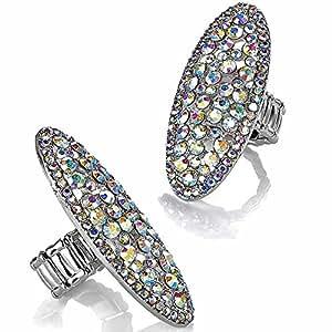 Large women's rhodium colour diamante fashion jewellery style cocktail ring