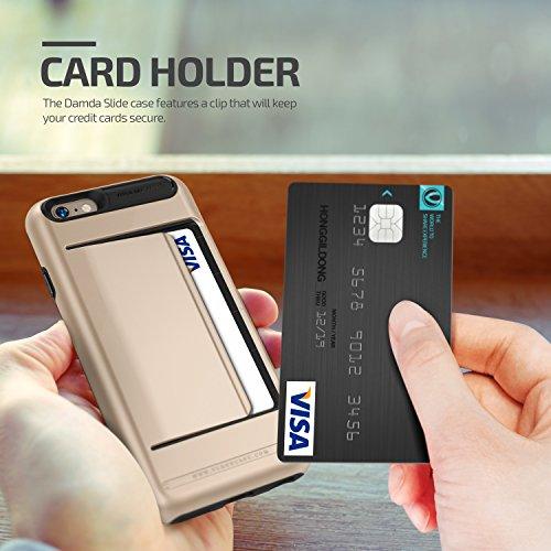 iPhone 6S Hülle, VRS Design [Damda Clip Serie] Schlanke Wallet Card Clip mit Militärischer Schutz für Apple iPhone 6 6S 2015 - Schwarz Silber Gold