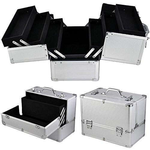 Yaheetech Kosmetikkoffer Schmink-Koffer, Schminkkoffer Friseurkoffer im Alu-Design (Silver)