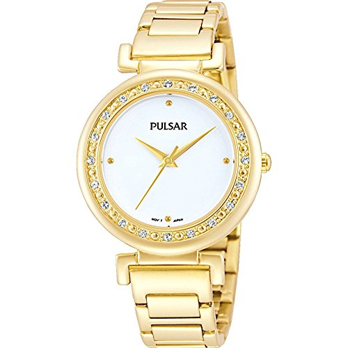 Pulsar Women's 31mm Gold Plated Bracelet & Case S. Sapphire Quartz White Dial Analog Watch PH8104X1