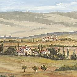 Artland Qualitätsbilder I Glasbilder Deko Glas Bilder 40 x 40 cm Landschaften Europa Italien Malerei Creme D8RX Toskanisches Tal I